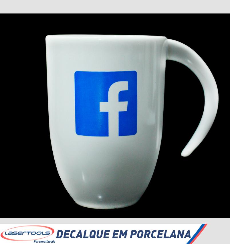 Decalque em caneca de porcelana do Facebook
